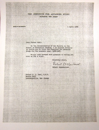 1966 – Invitation from Robert Oppenheimer to join the Princeton Institute for Advanced Studies