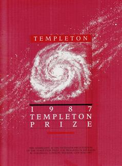 The booklet with the speeches made at the 1987 Templeton Prize.