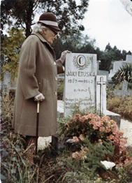 Father Jaki's mother at the tomb of her daughter Etuska
