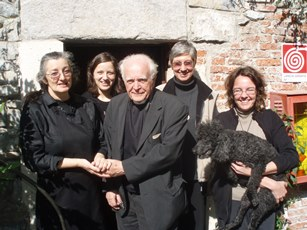 2008 – Lake Maggiore, Italy – At the Santa Caterina del Sasso hermitage, with members of the local Benedictine community