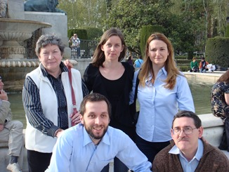 Some of the people that were in Madrid to assist Father Jaki: in background Becky Mayhew, Maria B. Raunio, Lucía Guerra Menéndez; in foreground Beniamino Danese and Antonio Colombo