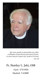 2009 – Italy – Father Jaki's Memorial Card in English