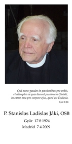 2009 – Italy – Father Jaki's Memorial Card in Latin