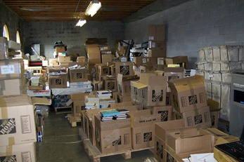 View of the boxes containing Father Jaki papers, marked THE HOME DEPOT