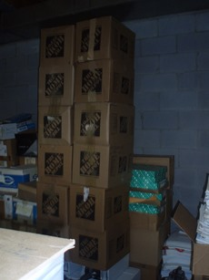 A view of part of the boxes of papers to be sent to Seton Hall University