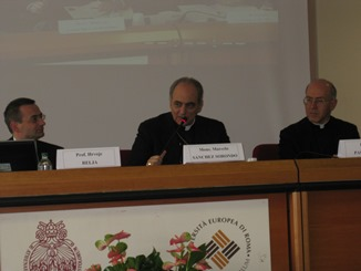 H.E. Mgr. Marcelo Sanchéz Sorondo speaks at the meeting