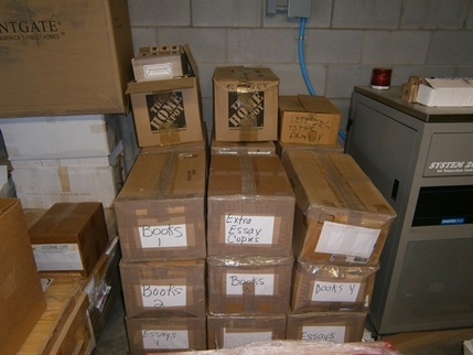 Another view of the boxes containing Jaki's works