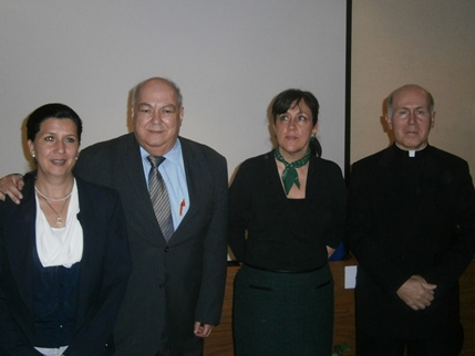 Olivia Eugenia Núñez Orellana, Adolfo Orozco Torres, Nora Ricalde Arancón and Father Rafael Pascual, the main organizers of the Conference