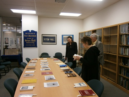 Jaki memorabilia at the Seton Hall University. Stacy Trasancos, Mary-Frances Musk and Dennis Musk