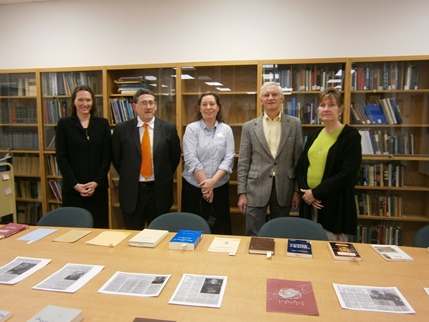 Jaki memorabilia at the Seton Hall University. Stacy Trasancos, Antonio Colombo, Magdalen Ross, Dennis Musk and Mary-Frances Musk.