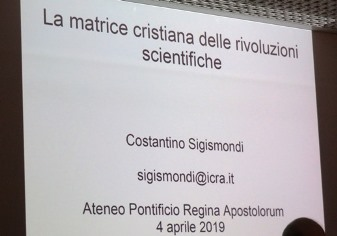 The first slide of Costantino Sigismondi's presentation about The Christian Matrix of Scientific Revolutions.