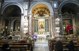 In the Church of Sant'Andrea delle Fratte, the Chapel in which the Virgin Mary appeared to Marie-Alphonse Ratisbonne (who converted to Catholicism and became a priest), and where St Maximilian Kolbe celebrated his First Holy Mass.